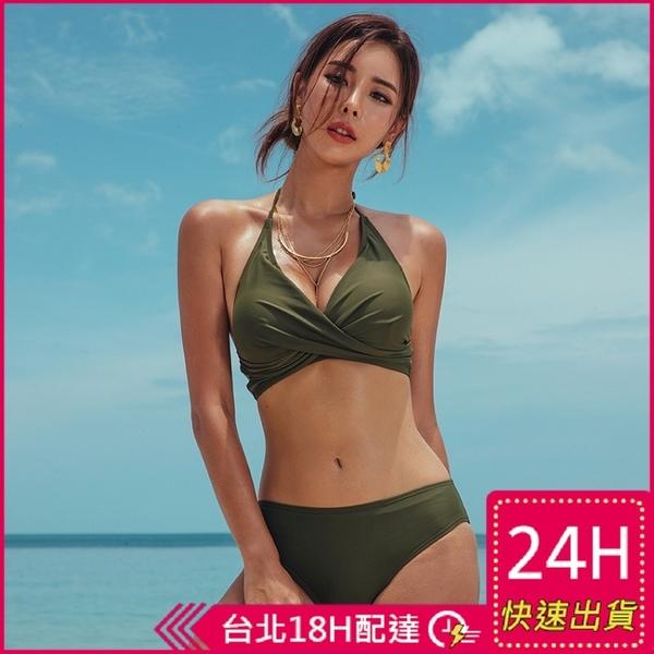 梨卡★現貨 - 性感Party[火辣+繞頸綁脖]大胸可穿純色溫泉比基尼二件式兩截式泳裝泳衣CR432