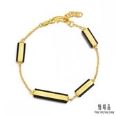 點睛品 g*collection系列 矩形黑玉髓 黃金手鍊
