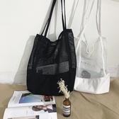 2019夏季新款韓版網格手提包購物袋網眼鏤空沙灘包帆布單肩女包包
