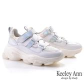 Keeley Ann輕運動潮流 科技視覺感彈性魔鬼氈休閒鞋(白色) -Ann系列