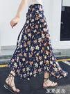 一片式半身裙長裙女夏2019新款中長款不規則沙灘海邊度假碎花裹裙 米希美衣