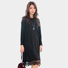 黑色洋裝--優雅空花蕾絲拼接開衩寬鬆修身...
