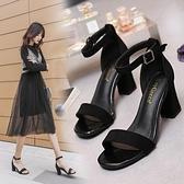 一字扣帶涼鞋女2020新款夏季仙女風百搭粗跟羅馬女鞋時裝高跟鞋潮