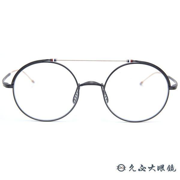 Thom Browne 眼鏡 雙槓 圓框 近視眼鏡 TBX910 霧灰-金 (49mm) 久必大眼鏡