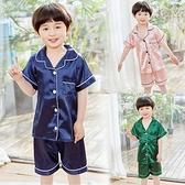 男童睡衣夏季薄款冰絲兒童家居服短袖套裝夏天中大童小男孩空調服