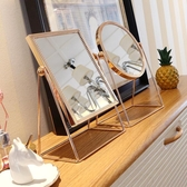 化妝鏡 ins北歐風台式單面鏡銅邊公主鏡桌面方鏡圓鏡少女心梳妝鏡 - 歐美韓熱銷