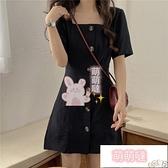 小黑裙 赫本風夏季設計感小眾氣質法式復古黑色連身裙女小黑裙【萌萌噠】