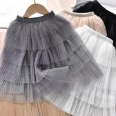 半身裙女童2020夏季新品韓版氣質淑女裙女寶寶純色網紗裙中長半身裙蛋糕