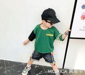 童裝兒童拼色七分短袖T恤中大男童寬鬆休閒上衣 莫妮卡小屋