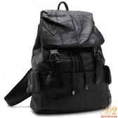 羊皮包-MOROM.羊皮迷漾拼接多口袋後背包(黑色)9808-1