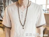 中國風復古男裝亞麻T恤男士短袖寬鬆大碼休閒盤扣麻料棉麻上衣薄 中秋節全館免運
