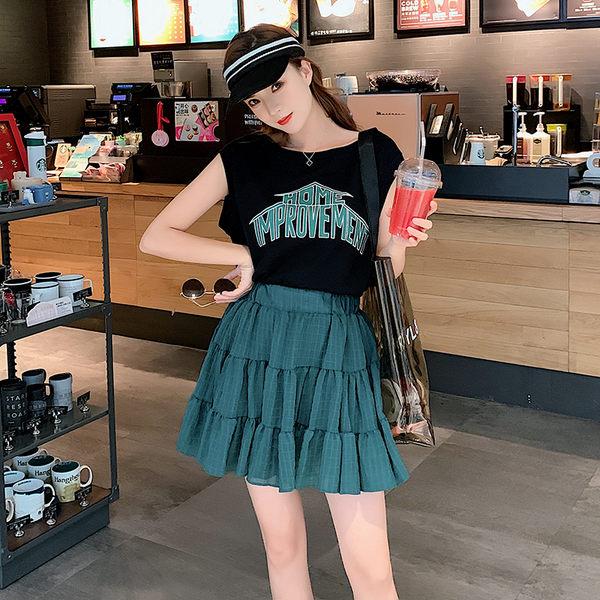 VK旗艦店 韓系印花字母T恤上衣半身裙套裝短袖裙裝