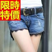 牛仔短褲-高腰自信單寧女休閒褲57d7【巴黎精品】