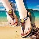 民族風厚底夾趾涼鞋女夏波西米亞水鉆串珠沙灘鞋中跟羅馬女鞋 依凡卡時尚