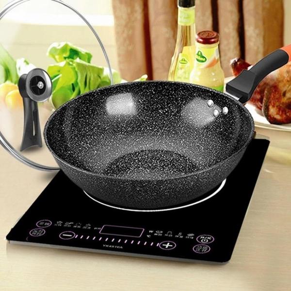 麥飯石炒鍋不粘鍋家用無油煙鐵鍋燃氣灶電磁爐適用多功能炒菜鍋具