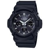 【CASIO】 G-SHOCK 強悍太陽能黑色鋁框三眼錶-黑(GAS-100B-1A)