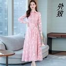 襯衫洋裝 長袖印花雪紡洋裝女2021新款春秋貴夫人媽媽襯衫裙收腰氣質