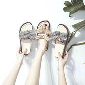 拖鞋女夏外穿2019新款時尚懶人女士百搭巴厘島沙灘網紅厚底涼拖鞋滿天星