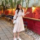 連身裙.迷人雜誌款蕾絲翻領五分袖洋裝.白鳥麗子