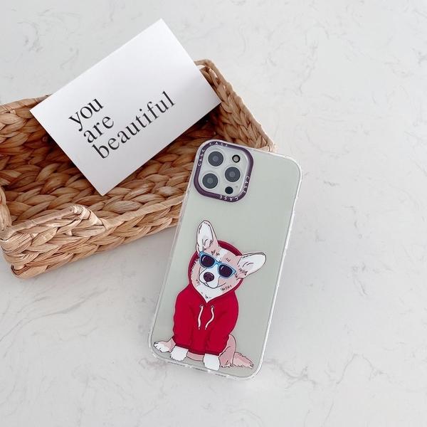 墨鏡狗狗 iPhone 12 mini iPhone 12 11 pro Max 透明手機殼 創意個性 彩邊卡通 保護殼保護套 防摔軟殼
