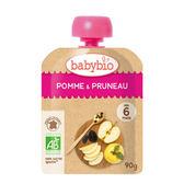 BABYBIO 有機蘋果黑棗纖果泥90g-法國原裝進口6個月以上嬰幼兒專屬副食品