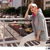 《AB11027》棉麻英文燙印連帽五分袖寬鬆上衣--適 XL~6L OrangeBear