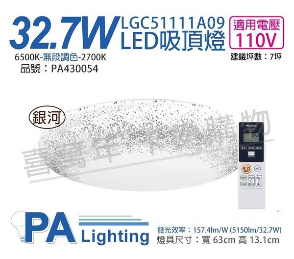 Panasonic國際牌 LGC51111A09 LED 32.7W 110V 銀河框 霧面 調光調色 遙控吸頂燈 _ PA430054