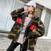 春秋季新款韓版學生寬鬆短款工裝bf港味迷彩外套女嘻哈棒球服