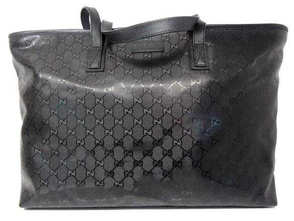 GUCCI 黑色LOGO花紋PVC帆布肩背大購物包 211120 【BRAND OFF】