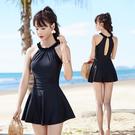 遊泳衣女 保守裙式連體泡溫泉款韓國性感遮肚顯瘦微胖小胸女士泳裝