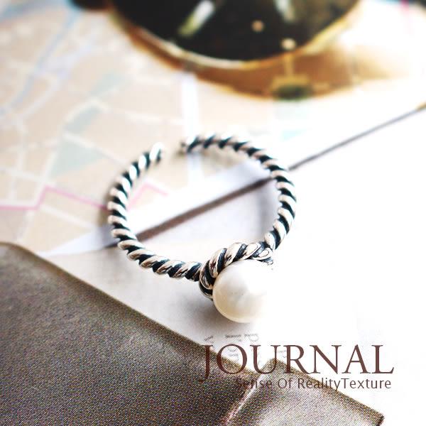 925純銀 氣勢極簡螺旋珍珠 可調式戒指 尾戒 關節戒_質物日誌Journal