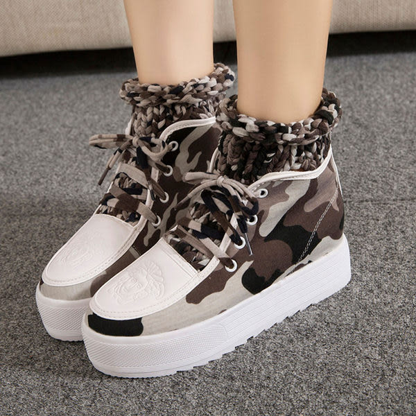 厚底鞋 拼接造型假短襪鬆糕厚底鞋【S703】☆雙兒網☆