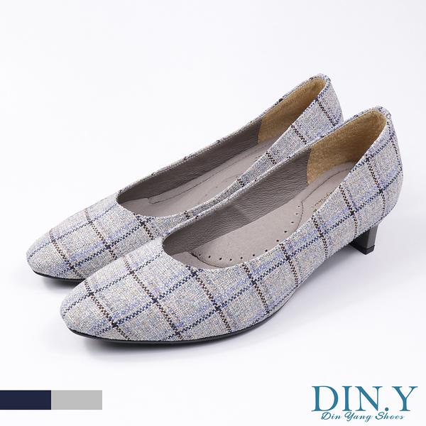 英倫風格紋布面中跟鞋(灰) 小方頭.真皮裡.豚皮.4cm高跟.中低跟鞋.女鞋【S139-03】DIN.Y