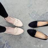 女秋季韓版單鞋女蝴蝶結平底尖頭百搭瓢鞋休閒女鞋 盯目家