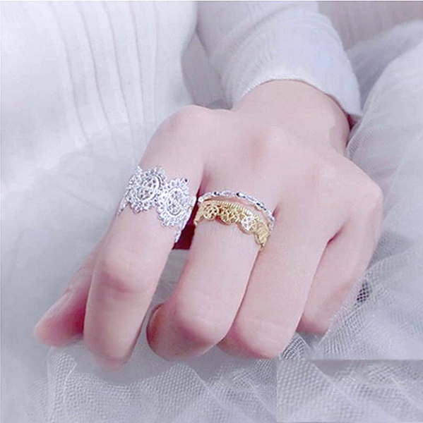 S925純銀戒指 女款戒指 氣質蕾絲 寬版戒指 指環 手飾 韓版時尚銀飾品 日韓百搭款銀飾-銀白寬版款