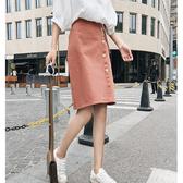 素色 排釦 拉鍊 包臀裙 綁帶 窄裙 M碼