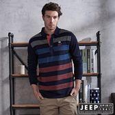 【JEEP】美式造型撞色條紋長袖POLO衫 (深藍)