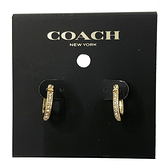 【COACH】字母C LOGO仿鑽針式圈圈耳環(金色)