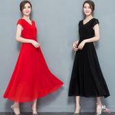 優惠持續兩天-短袖洋裝黑色洋裝大尺碼胖mm高腰雪紡連身裙寬鬆裙長裙子
