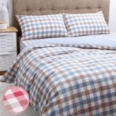 日式色織水洗棉床包枕套組 紅色款
