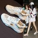 涼鞋女鞋子2021新款夏季夏天鏤空平底女士時尚百搭包頭運動小白鞋