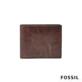 FOSSIL Derrick 深棕色真皮大零錢袋RFID皮夾 男 ML3687201