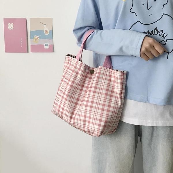【快出】帆布包斜背包日繫風格子單肩斜背小清新帆布袋包女包休閒小包