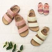 【4色】HABU兒童涼鞋 女童涼鞋 休閒涼鞋 流蘇 波西米亞風 雙帶涼鞋 柔軟鞋墊 蝴蝶結涼鞋 J6809