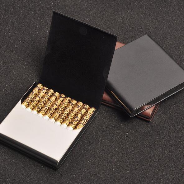 煙盒超薄翻蓋創意男士不銹鋼金屬貼皮便攜10支裝高檔煙盒igo 青木鋪子