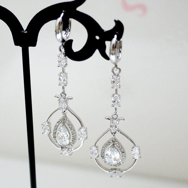 防抗過敏 淚滴水滴 長款華麗 垂墜耳環-銀 新娘飾品 無耳洞可改夾