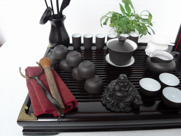 電腦雕荷花茶盤