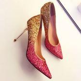 婚鞋女高跟細跟全館免運新款紅色漸變新娘鞋淺口中跟尖頭單鞋【全館89折低價促銷】