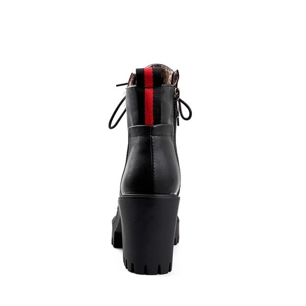 大尺碼女鞋34~43 時尚顯瘦百搭簡約繫帶圓頭高跟厚底馬丁靴 短靴子~3色