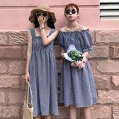 夏裝女裝韓版小清新格子一字領吊帶裙露肩無袖連身裙顯瘦長裙學生